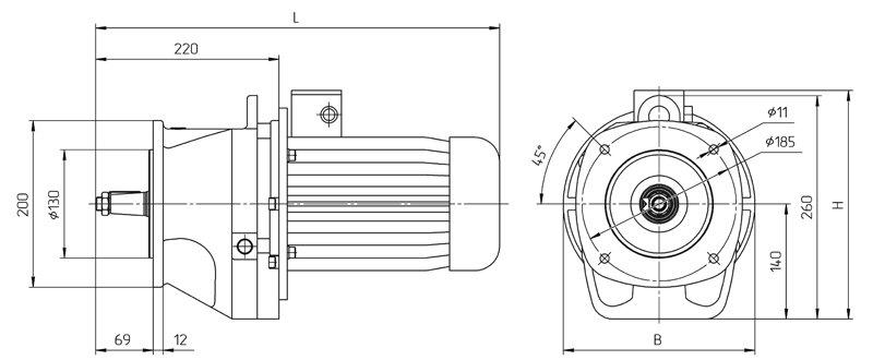 Габаритные размеры мотор редуктора 4МЦ2С - 63 фланцевое исполнение