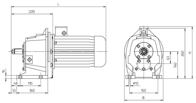 Габаритные размеры мотор редуктора 4МЦ2С - 63 исполнение на лапах