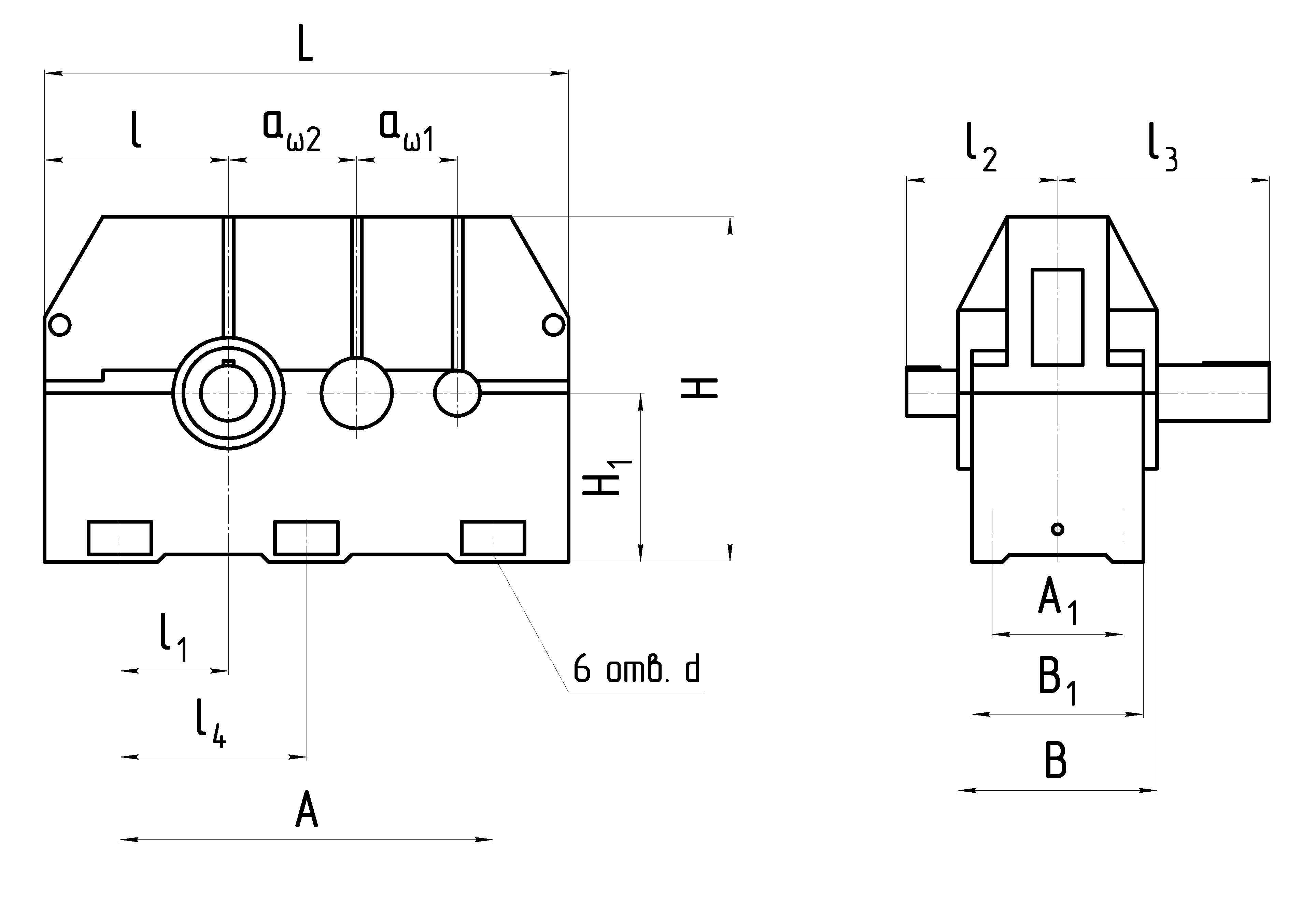 Габаритные размеры редуктора 1Ц2Н