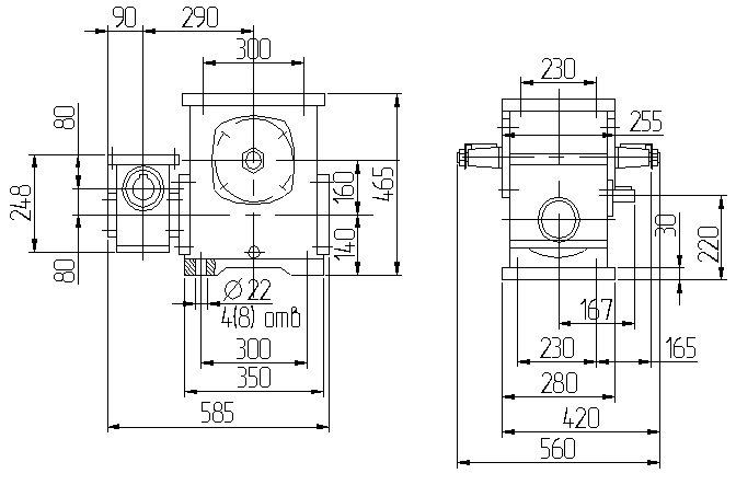 Габаритные размеры червячного редуктора 1Ч2 160 - 80 схема 1