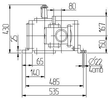 Габаритные размеры червячного редуктора 1Ч2 160 - 80 схема 3