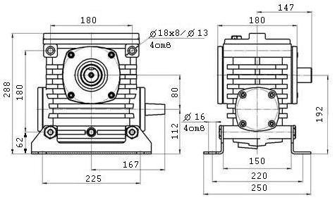 Габаритные размеры червячного редуктора 2Ч 80