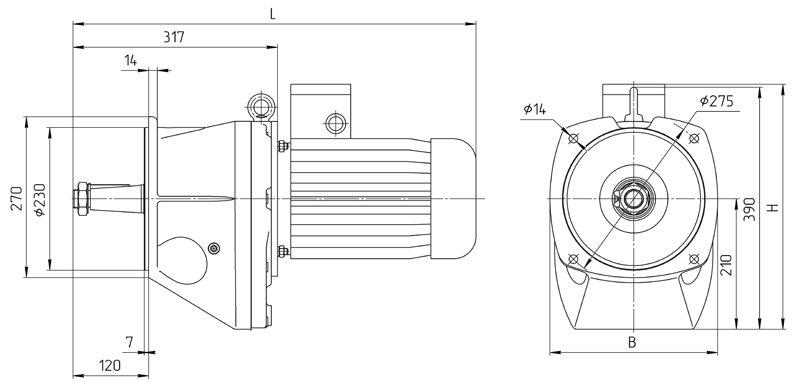 gab_razm_4mc2s_100_red_flanГабаритные размеры мотор редуктора 4МЦ2С - 100 с редукторным двигателем исполнение на фланцах