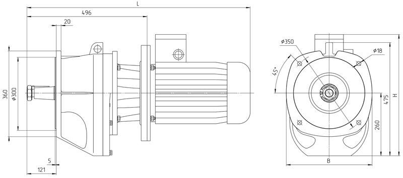 Габаритные размеры мотор - редуктора 4МЦ2С - 125 исполнение на фланцах с промышленным двигателем