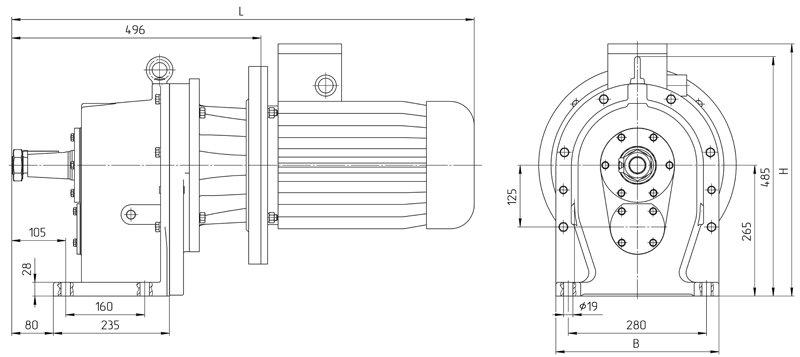 Габаритные размеры мотор - редуктора 4МЦ2С - 125 исполнение на лапах с промышленным двигателем