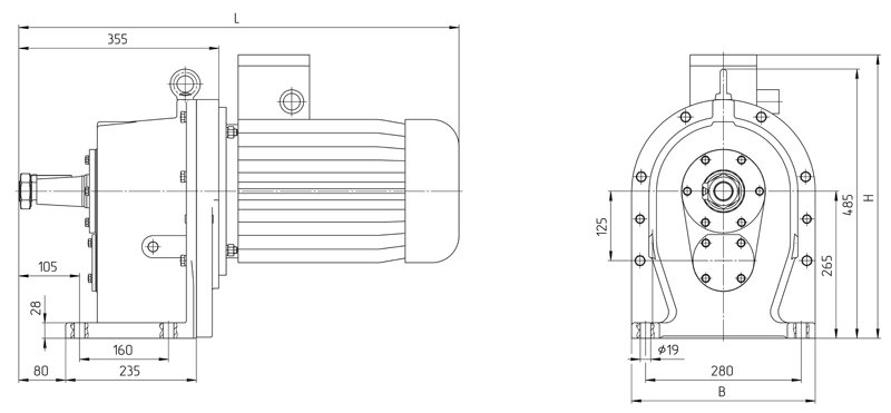 Габаритные размеры мотор - редуктора 4МЦ2С - 125 исполнение на лапах