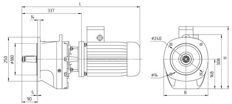 Габаритные размеры мотор редуктора 4МЦ2С - 80 фланцевое исполнение с промышленным двигателем