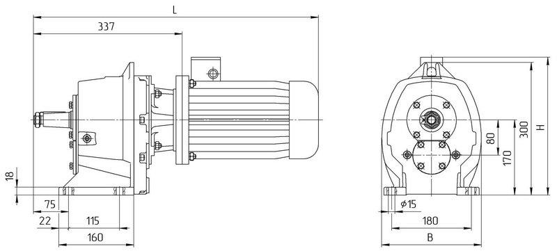 Габаритные размеры мотор редуктора 4МЦ2С - 80 на лапах с промышленным двигателем
