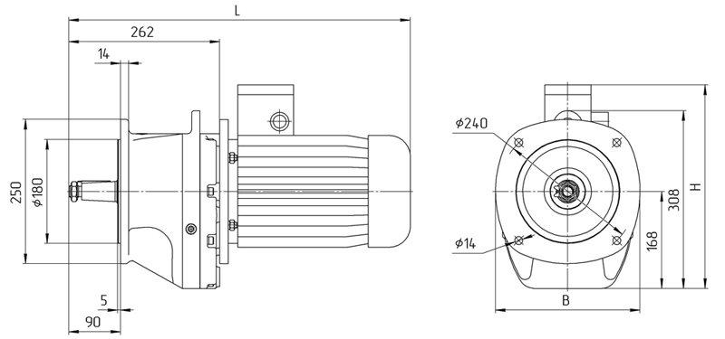 Габаритные размеры мотор редуктора 4МЦ2С - 80 фланцевое исполнение
