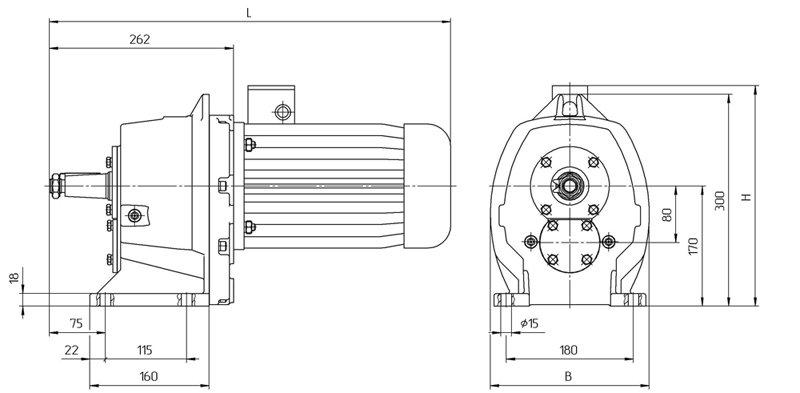 Габариты мотор редукторов 4МЦ2С - 80 на лапах