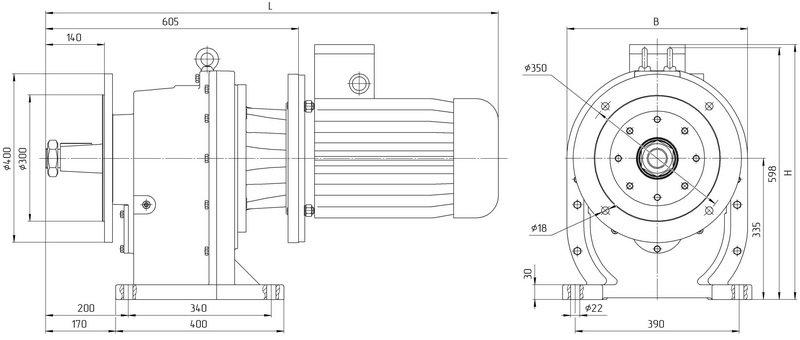 Габаритные размеры мотор редуктора 4МЦ2С 160 исполнение на фланцах с общепромышленным двигателем
