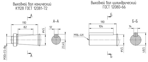 Варианты исполнения мотор редуктора 4МЦ2С - 100