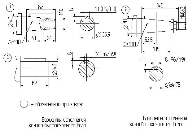 Размеры валов червячного редуктора 1Ч 160
