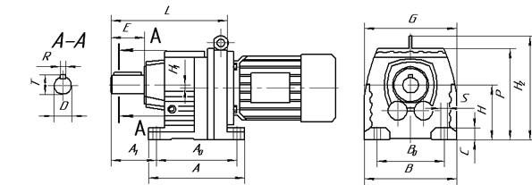 Исполнение на лапах мотор редуктор HR