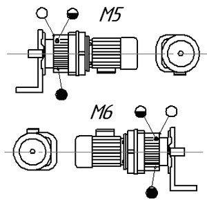 Монтажные позиции мотор редуктора HR (исполнение на фланцах)