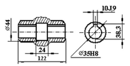 Размеры полового шпоночного вала