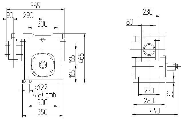 Габаритные размеры червячного редуктора 1Ч2 160 - 80 схема 2