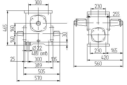 Габаритные размеры червячного редуктора 1Ч 160