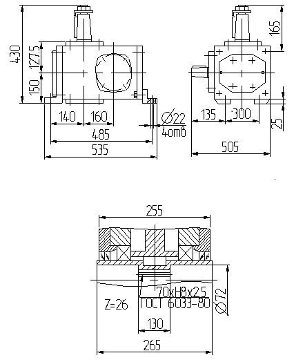 Габаритные размеры червячного редуктора 1Ч 160 2