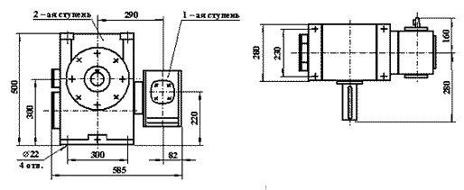 Габаритные размеры червячного редуктора Ч2 160 80