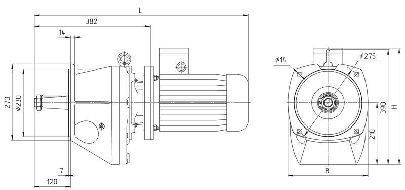 Габаритные размеры мотор редуктора 4МЦ2С - 100 с промышленным двигателем исполнение на фланцах
