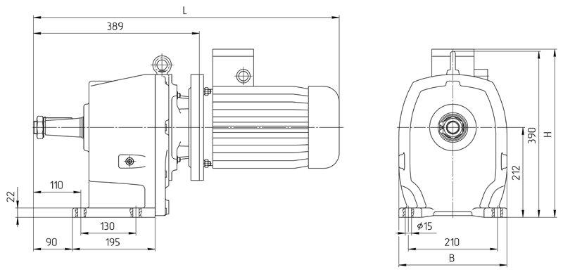 Габаритные размеры мотор редуктора 4МЦ2С - 100 с ролмышленным двигателем исполнение на лапах