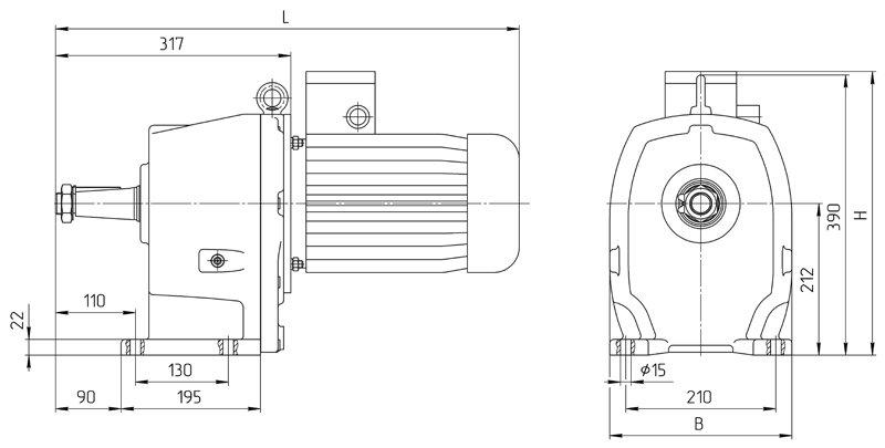 Габаритные размеры мотор редуктора 4МЦ2С - 100 с редукторным двигателем исполнение на лапах