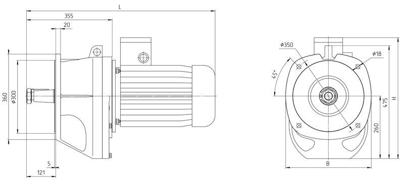 Габаритные размеры мотор - редуктора 4МЦ2С - 125 исполнение на фланцах