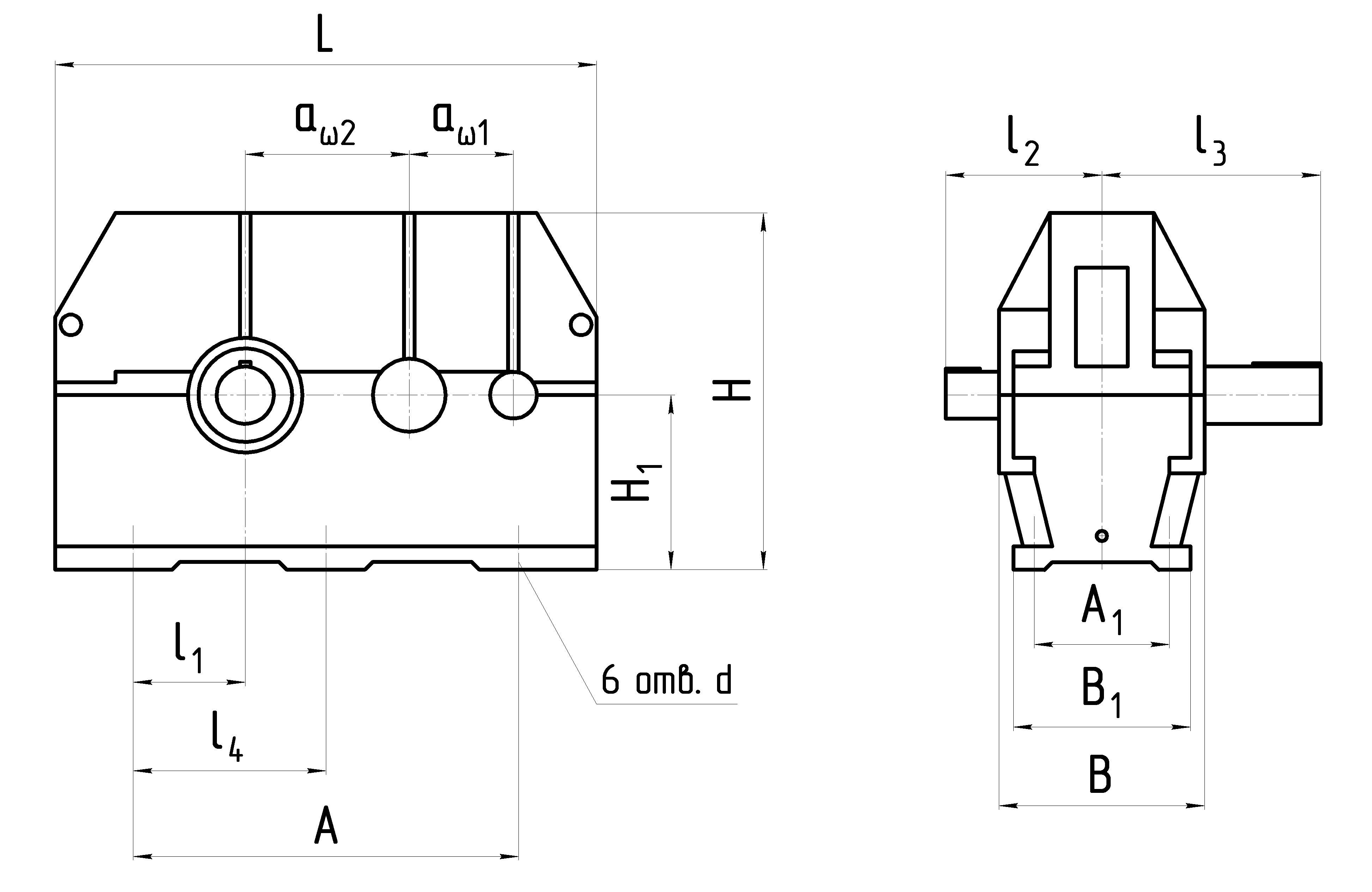 Габаритные размеры редуктора Ц2У Н