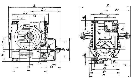 Габаритные размеры червячного редуктора Ч 100
