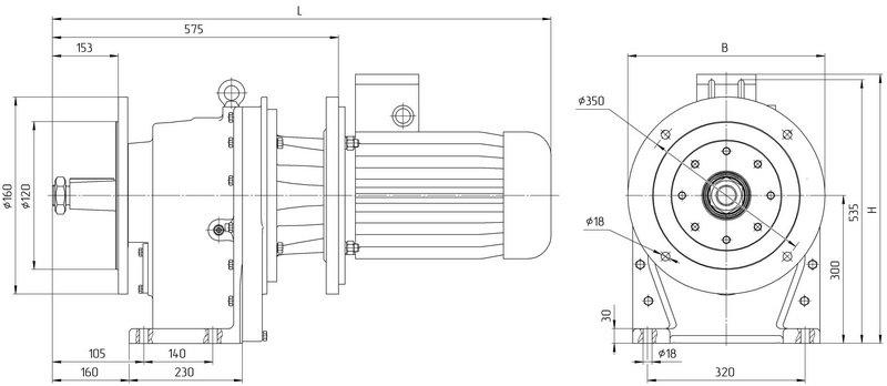 Габаритные размеры мотор редуктора 4МЦ2С - 140 исполнение на фланцах с общепромышленным двигателем
