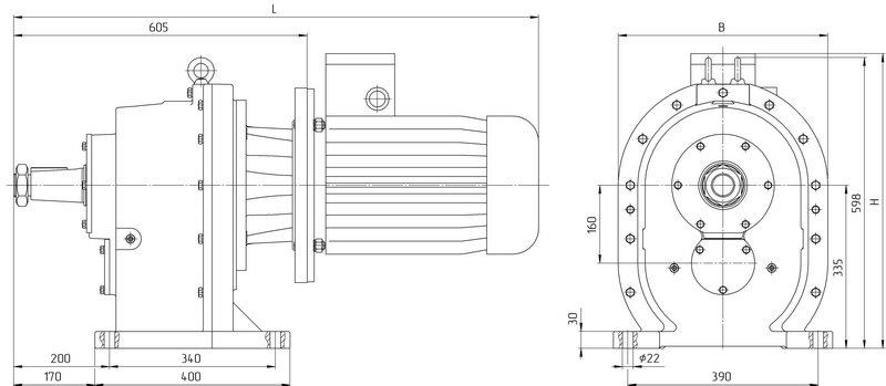 Габаритные размеры мотор редуктора 4МЦ2С 160 исполнение на лапах с общепромышленным двигателем