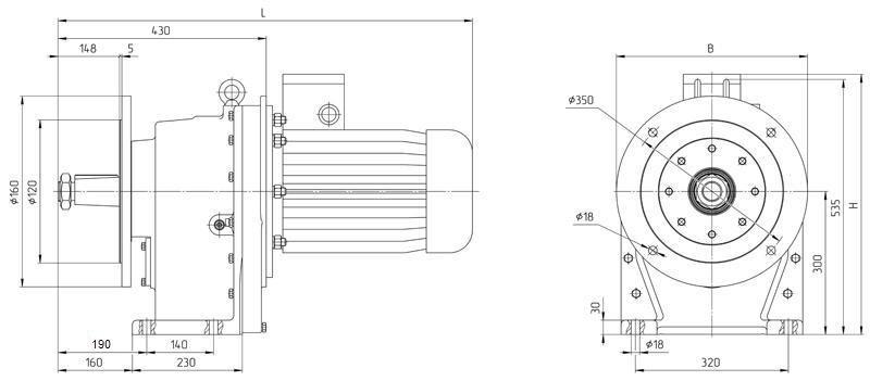 Габаритные размеры мотор редуктора 4МЦ2С - 140 исполнение на фланцах с редукторным двигателем