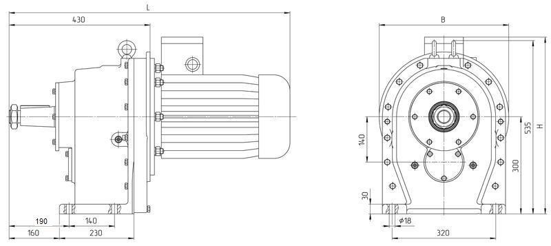 Габаритные размеры мотор редуктора 4МЦ2С - 140 исполнение на лапах с редукторным двигателем