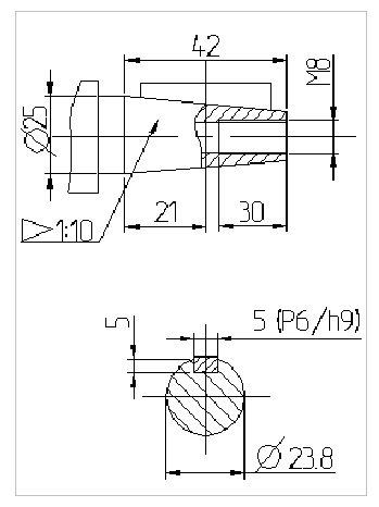 размеры валов червячного редуктора 1Ч2 160 - 80 схема 1