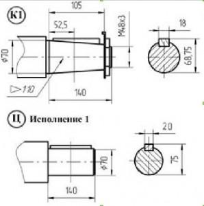 Размеры валов червячного редуктора 2Ч 180 80 схема 3