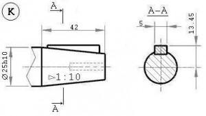 Размеры валов червячного редуктора Ч 80