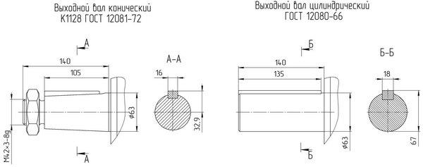 Варианты исполнения мотор редукторов 4МЦ2С 140