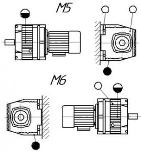 Монтажные позиции мотор редуктора HR (исполнение на лапах)